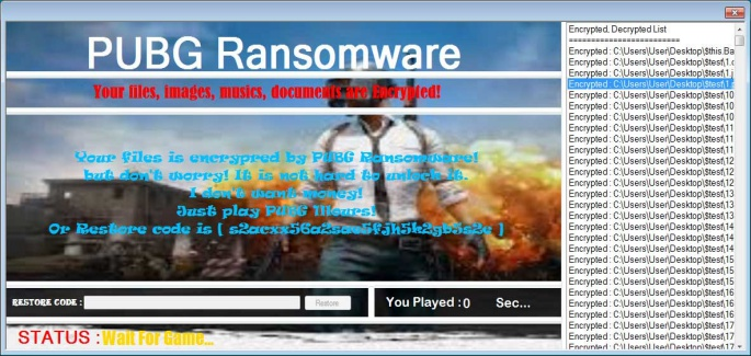 New ransomware wants you to play PUBG game or it will lock your files