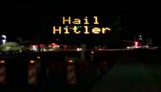 """Someone hacked this highway sign & defaced it with """"Hail Hitler"""" text"""