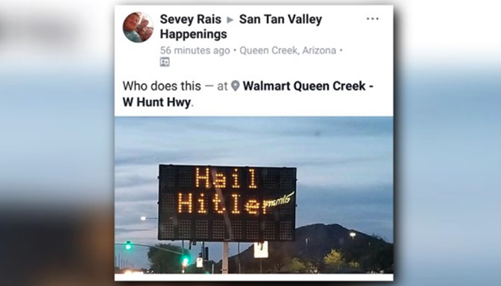 "Someone hacked this highway sign & defaced it with ""Hail Hitler"" text"