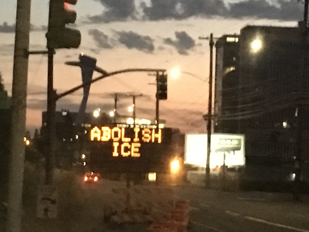 "Traffic sign near ICE headquarters hacked with ""Abolish ICE"" message"