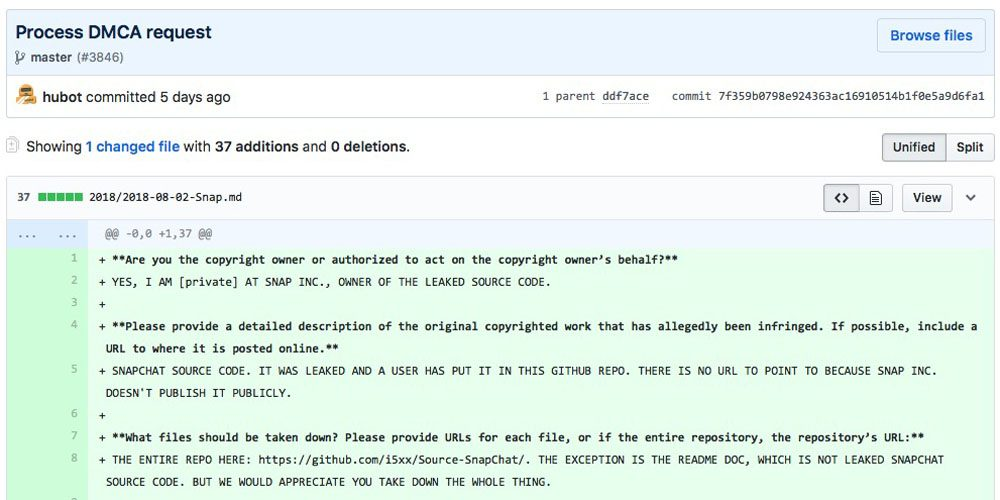 Snapchat source code leaked on Github