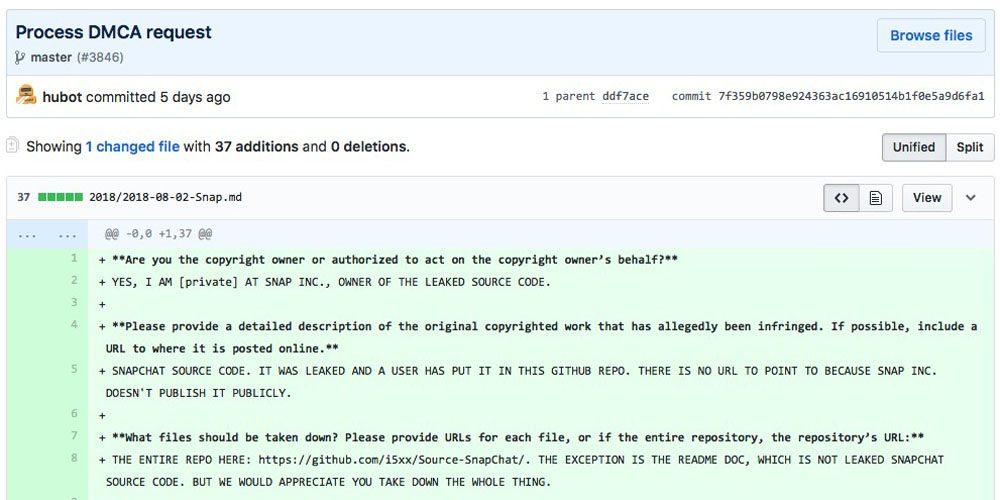 Snapchat source code leaked on Github