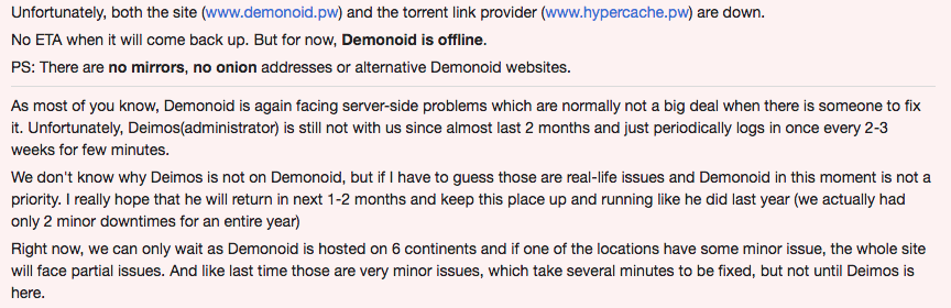 Demonoid goes offline with owner missing in action since last two months