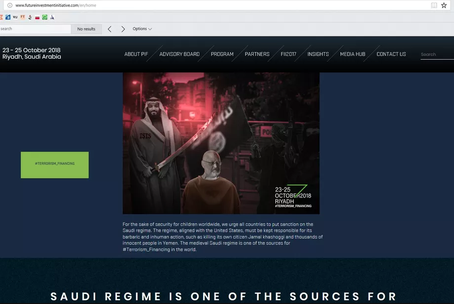Hackers deface Saudi 'Davos in the Desert' site against Khashoggi's death