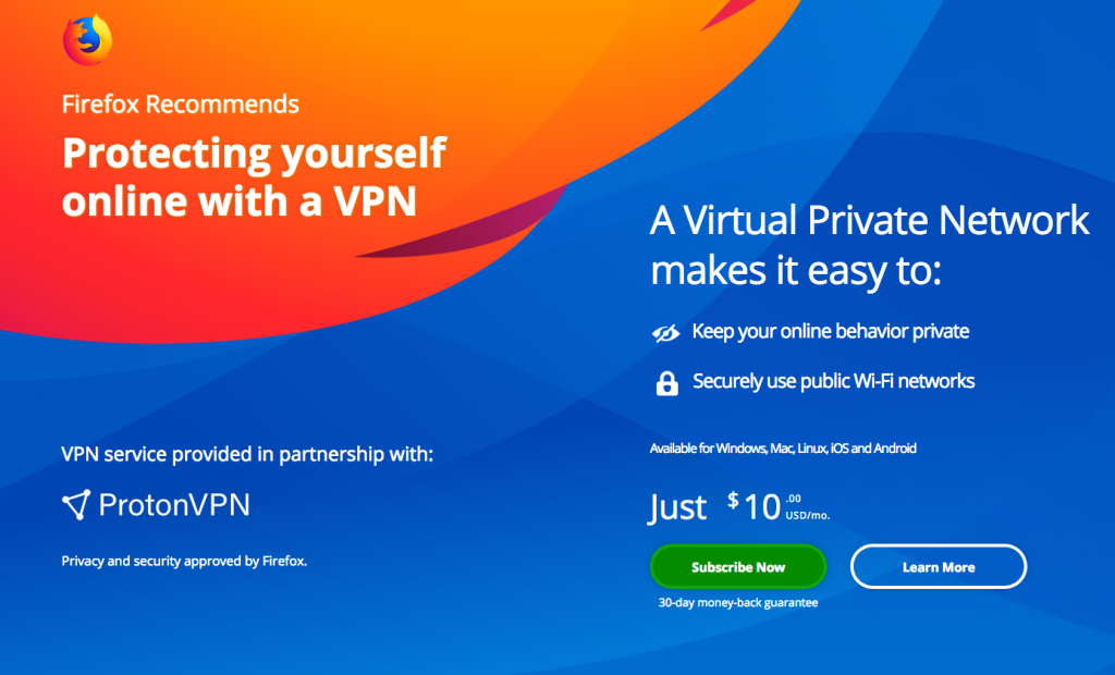 ProtonVPN Subscriptions Now Available on Firefox for $10