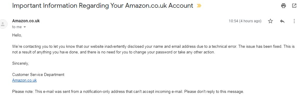 Amazon data breach: Names & email addresses of customers exposed online