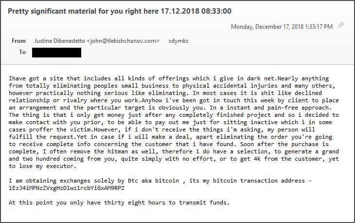 "New email extortion scam claims ""Pay $4,000 or a hitman is coming for you""  - hitmail email extorntion email 1 - New email extortion scam warns ""Pay $4,000 or a hitman is coming for you"""