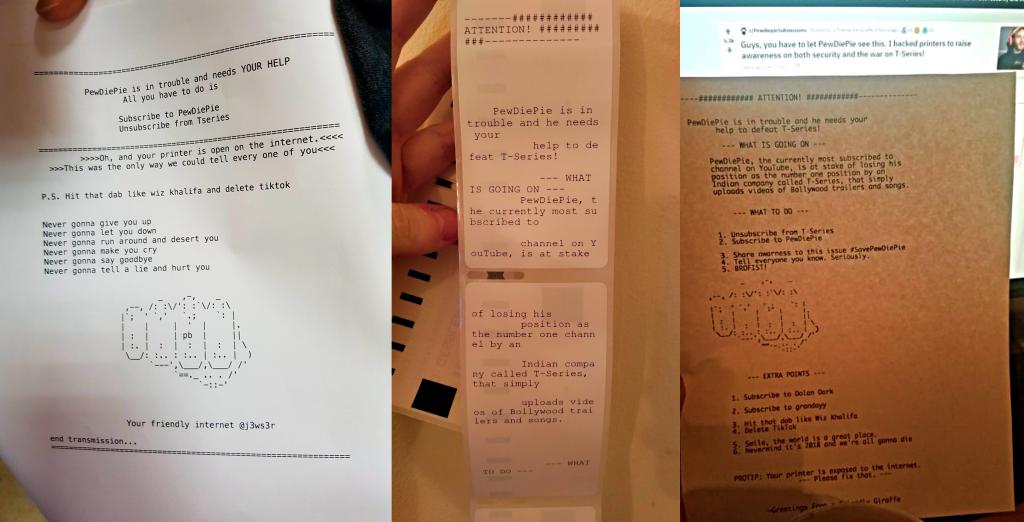 PewDiePie fan hackers compromise 100,000 printers
