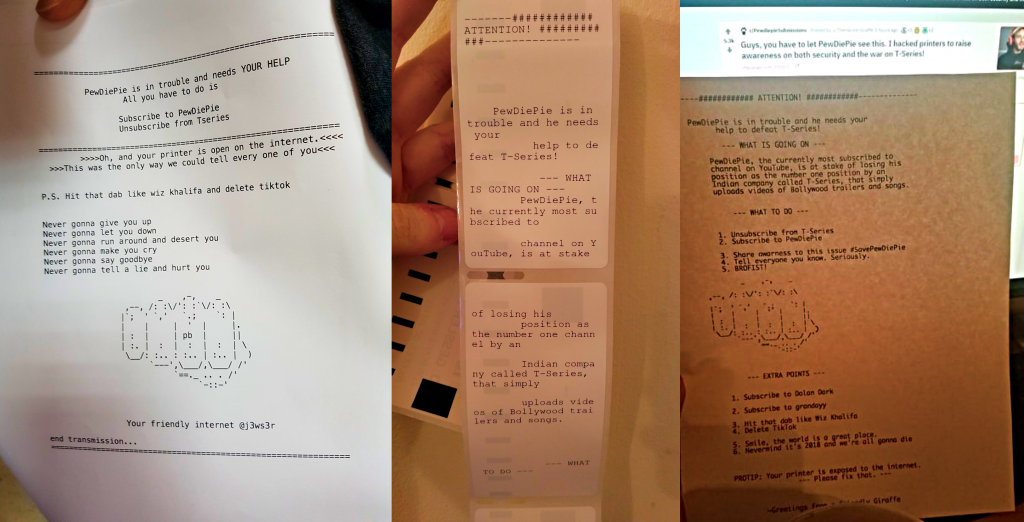 PewDiePie fan hackers compromise 100,000 printers  - pewdiepie fan hackers compromise 100000 printers 1 1024x522 - PewDiePie fan hacker compromise 100,000 printers