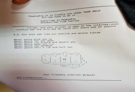 PewDiePie fan hacker compromise 100,000 printers