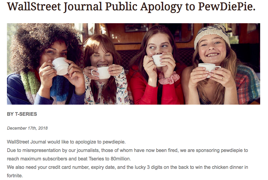 Pro-PewDiePie messages appear on hacked Wall Street Journal website