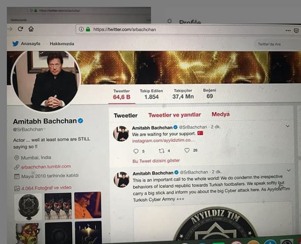 Amitabh Bachchan's Twitter account hacked & defaced with picture of Pakistani PM Imran Khan