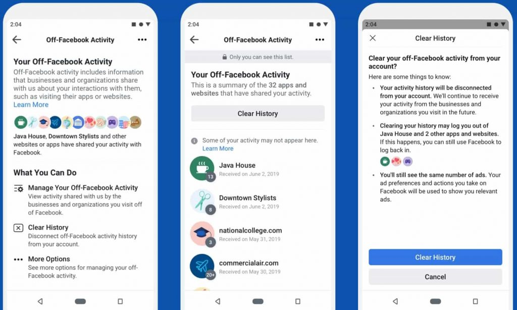 Off-Facebook Activity - Anonymizing your data