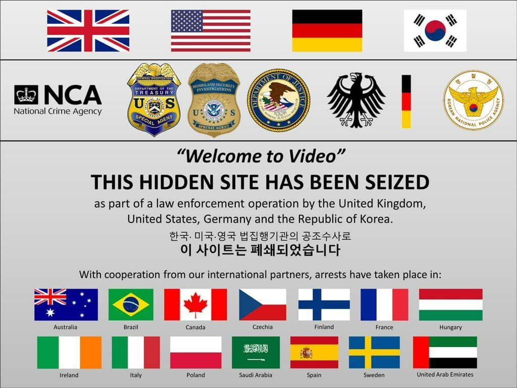 Screen of the seized website