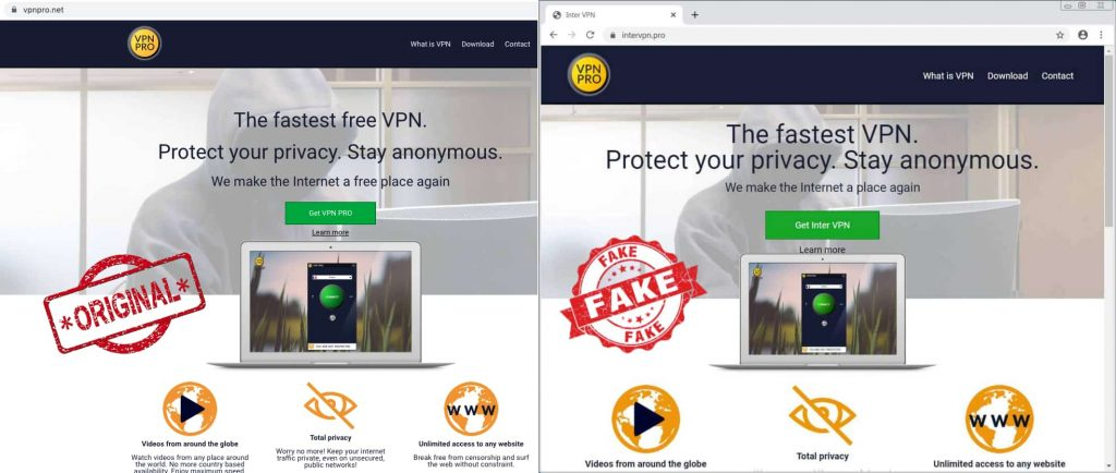 Fake VPN website delivering password-stealing malware