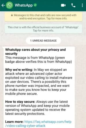Investigators lost track of suspect after ill-timed WhatsApp hacking warning