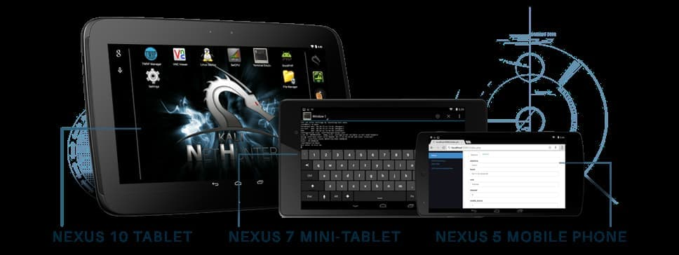 Image by Kali's official website: NetHunter being used on Nexus Devices.