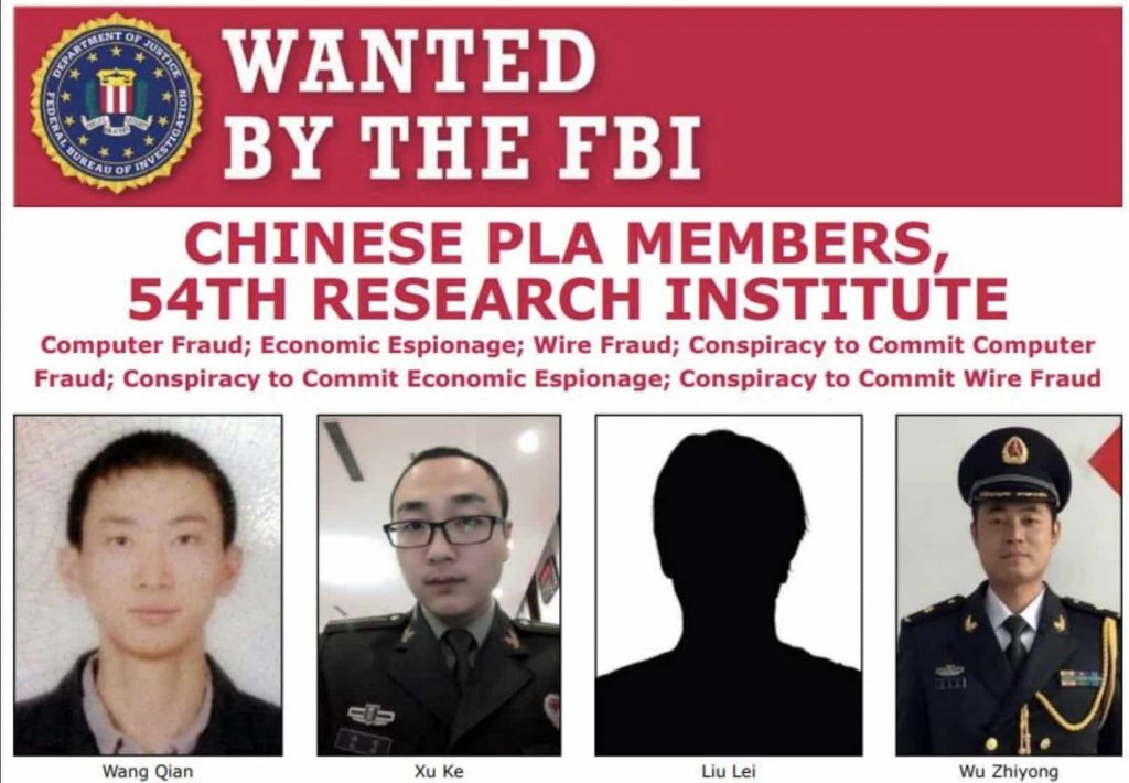 US charges 4 Chinese military hackers over 2017 Equifax breach