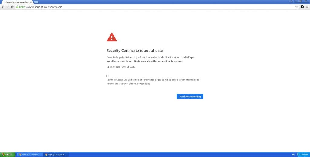 Hackers dropping info-stealer malware with fake security certificate alerts