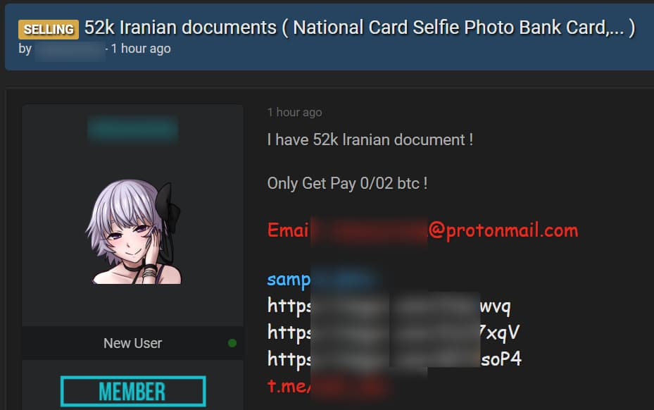 Dark web hacker selling 45,000 Iranian debit & ID cards with selfies