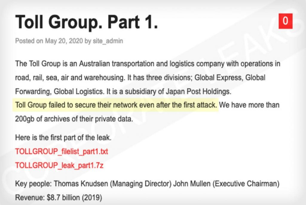 Dark Web hackers publish 200GB of Toll Group's stolen corporate data