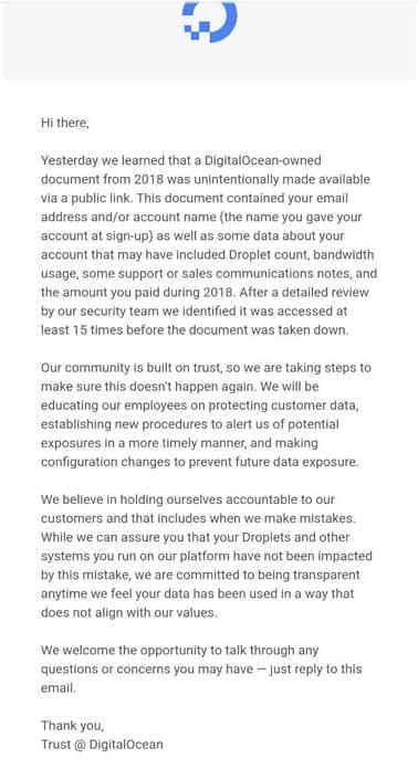 DigitalOcean suffers data breach after leaving internal files online