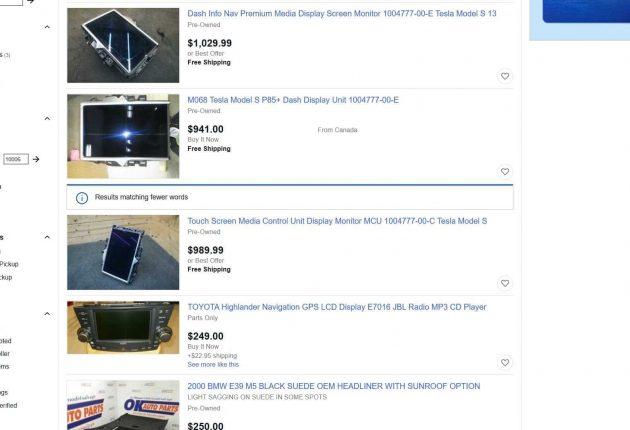 Different Tesla car parts on eBay.
