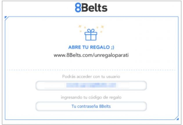 Screenshot of 8Belts' giftcard (Image: vpnMentor)