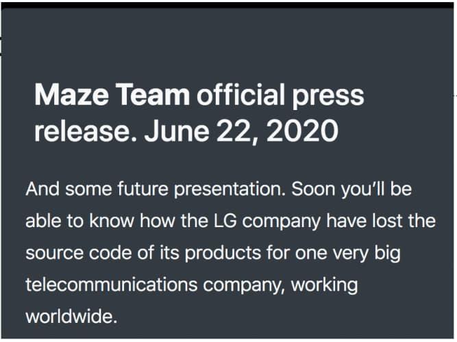 Maze Ransomware operators hack LG Electronics stealing critical data