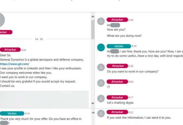 The fake LinkedIn recruiter luring one of the employees (Image: ESET)