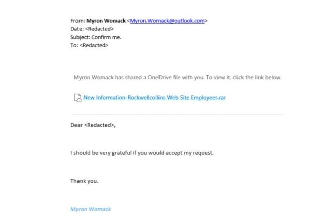 Fake email attached with malware directed towards an employee  (Image: ESET)