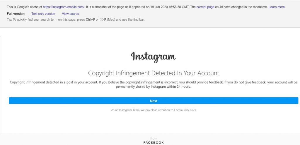 Verified Instagram account running copyright infringement phishing scam