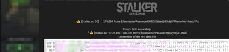 Over 1.2 Million Stalker online player records up for sale on dark web