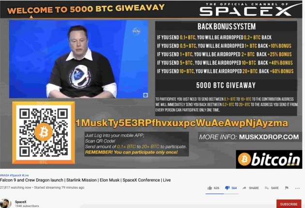 Screenshot from the compromised YouTube channel running SpaceX's live transmission and scammer users at the same time. (Image: Twitter, YouTube, Hackread.com)