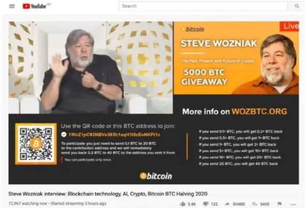 Bitcoin scam in the name of Steve Wozniak (Image: YouTube)