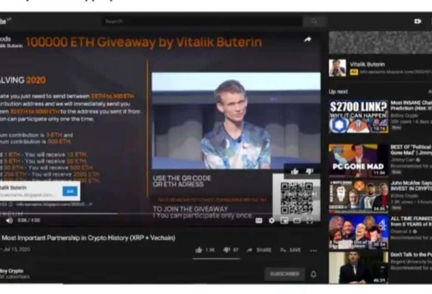 Bitcoin scam in the name of Vitalik Buterin who is a co-founder of Ethereum and as a co-founder of Bitcoin Magazine (Image: YouTube)