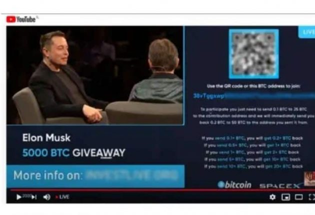 Bitcoin scam in the name of Elon Musk (Image: YouTube)