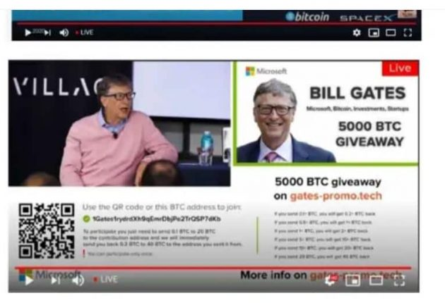 Bitcoin scam in the name of Bill Gates (Image: YouTube)