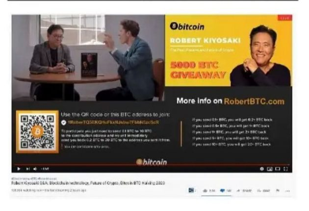 Bitcoin scam in the name of American businessman Robert Kiyosaki (Image: YouTube)
