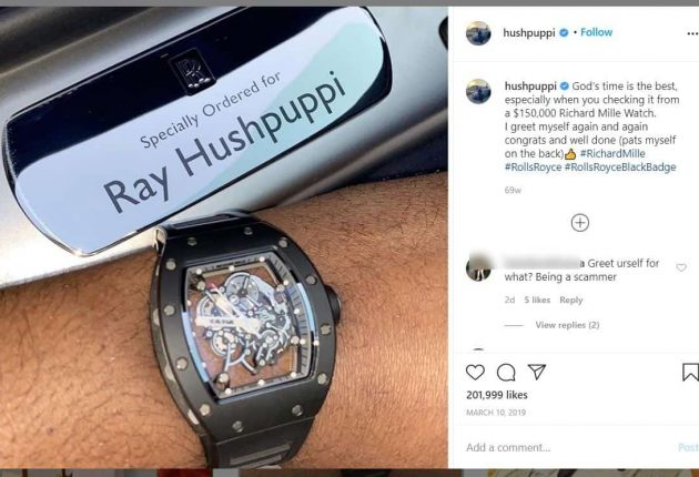 Ray Hushpuppi showing off on Instagram