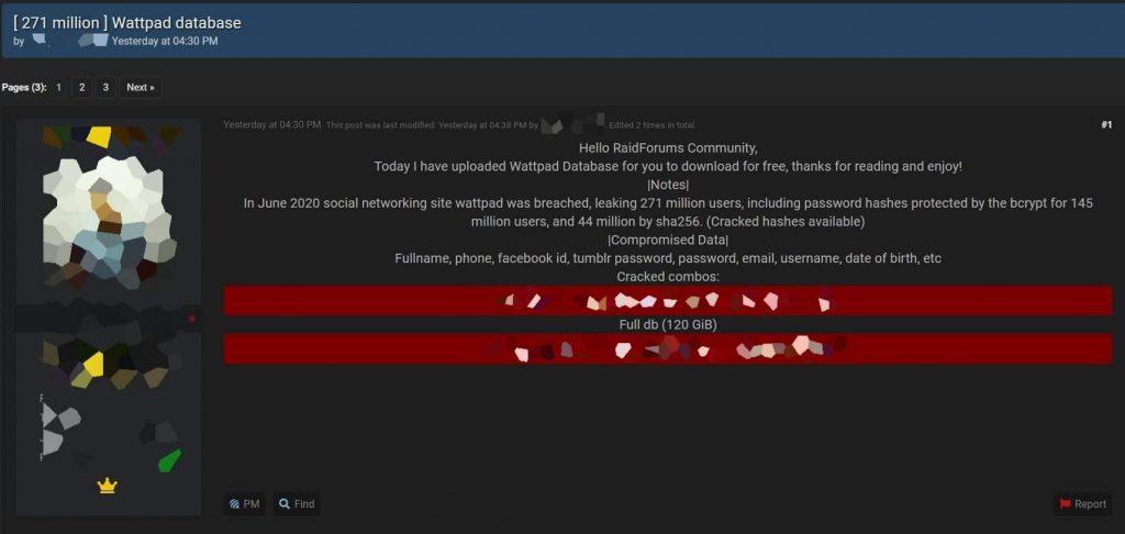 Hacker leaks 271 million Wattpad accounts on hacker forum