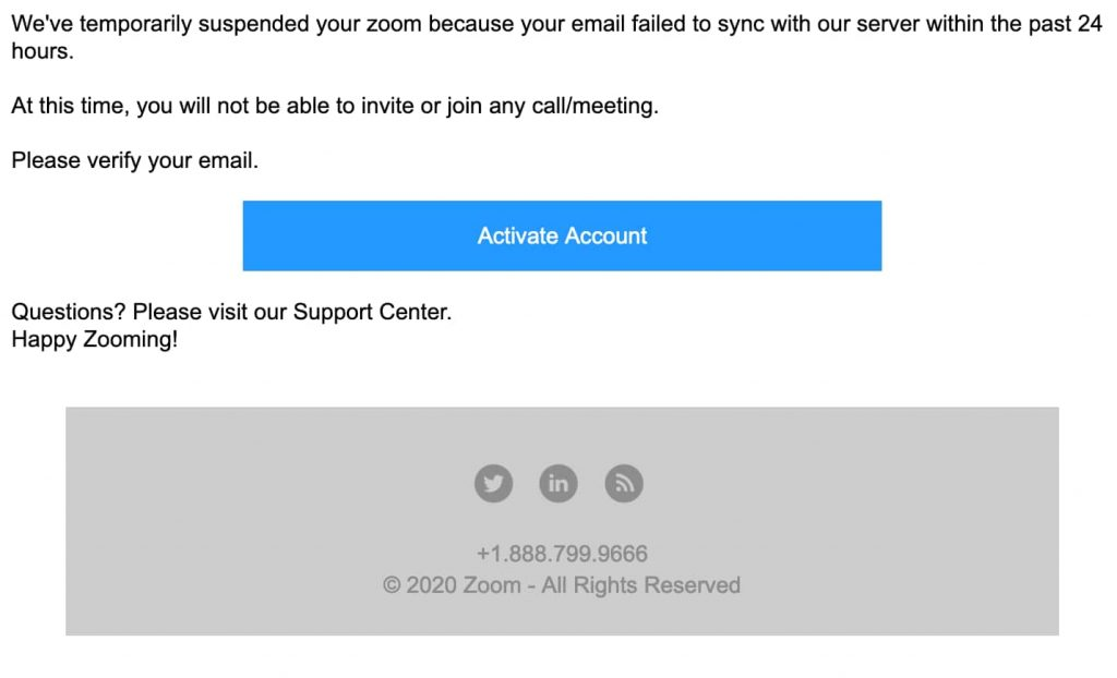 'Zoom account is suspended' phishing scam aims at Office 365 credentials