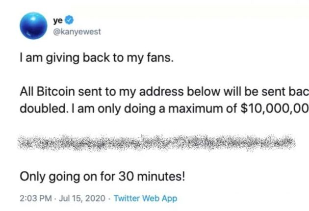 Kanye West's hacked Twitter account