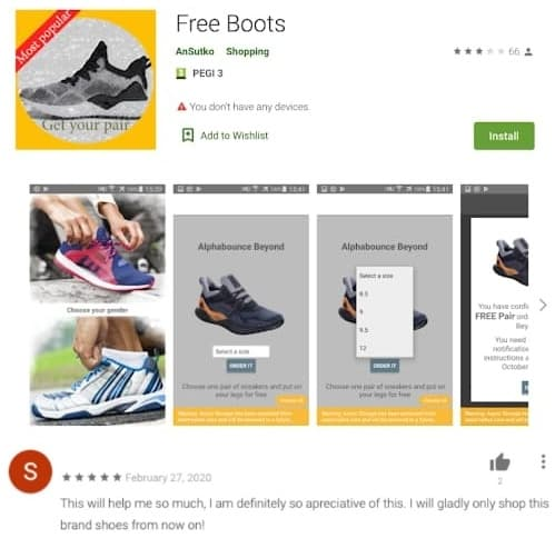 Shoe give away scam hits Android users with malware on Play Store