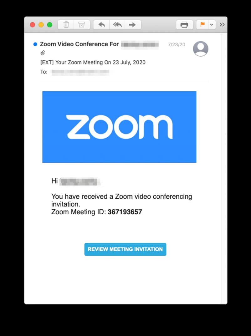 Fake Zoom Meeting Invitation Phishing Scam Harvests Microsoft Credentials