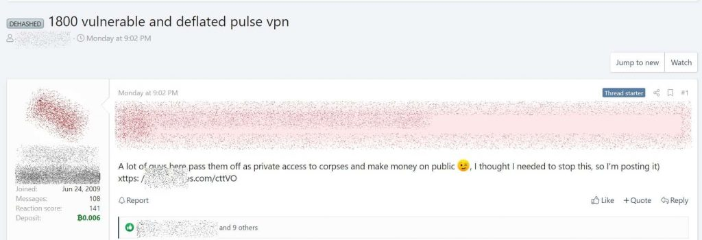 Confidential Data of 913 Pulse Secure servers leaked on hacker forum