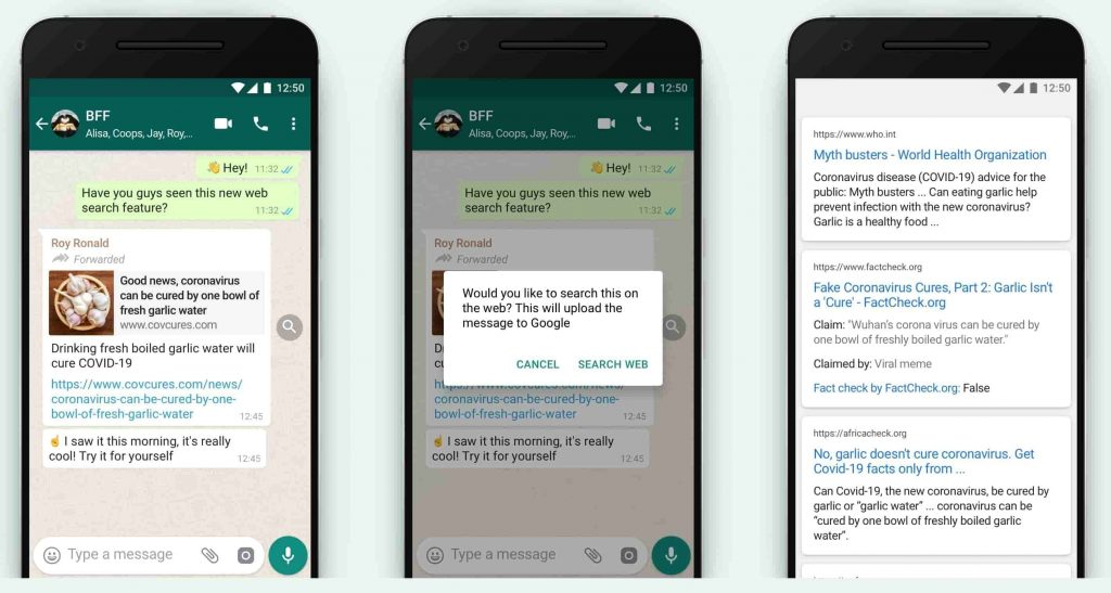 WhatsApp's search the web fact-check feature lets users identify fake messages