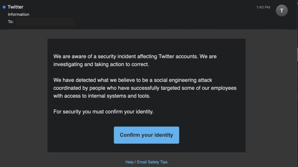 Phishing campaign inspired from Twitter's latest security response