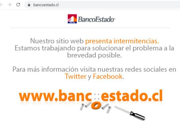 State Bank of Chile's website was down since yesterday