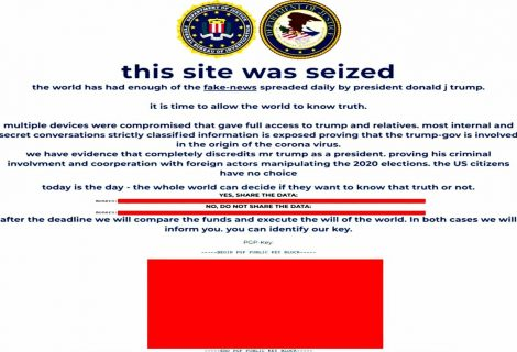 "Trump campaign website defaced with ""site seizure"" notice"